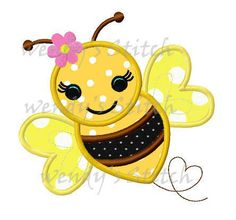 Girl bumble bee applique machine embroidery design by WendysStitch Baby Embroidery, Machine Embroidery Applique, Applique Patterns, Quilting Patterns, Quilting Ideas, Cute Dog Harness, Bee Coloring Pages, Scrap Fabric Projects, Bee Crafts