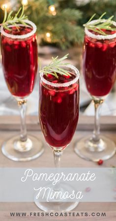 Pomegranate Mimosa Drink Recipe: Classic Mimosa's get a seasonal makeover. All you need is a lime, sugar, champagne, pomegranate juice, pomegranate seeds and some rosemary to make this festive and elegant drink. Christmas Brunch, Christmas Drinks, Holiday Drinks, Holiday Recipes, Xmas, Winter Recipes, Christmas Recipes, Cabin Christmas, Fall Drinks