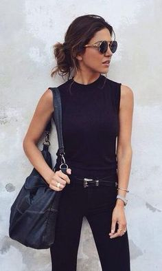 all black. western belt. street style.