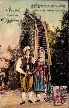 Künstler Ansichtskarte / Postkarte S'Vreneli ab em Guggisberg, Paar in Schweizer Tracht, Zipfelmütze