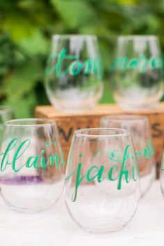 personalized stemless wine glass favors - photo by Alexis June Weddings