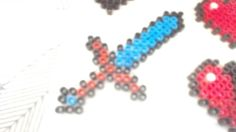 Minecraft diamond sword perler beads