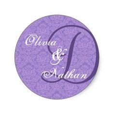 #Purple and #White #Wedding #Damask #Monogram #Sticker