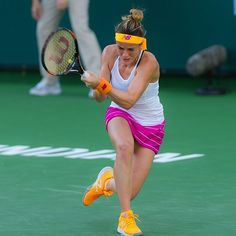 "Nicole Gibbs is ""loving this week"". Plays today against Yaroslava Shvedova. #BNPPO16 #newbalance"