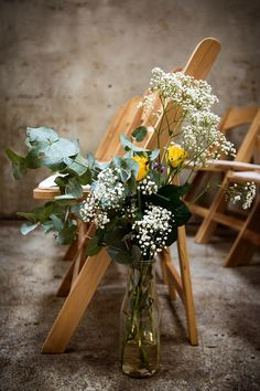 Bottle Flowers Pew Ends Ceremony Decor Home Made Farm Tipi Wedding http://alexabbottphotography.co.uk/
