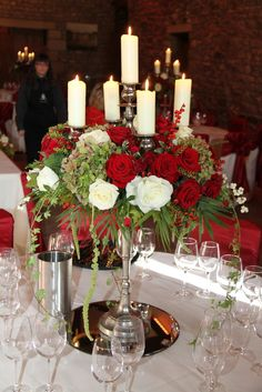 Red Roses & Hydrangea // Candelabra