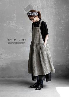 BerryStyle   라쿠텐 일본: Joie de Vivre 프렌치 린넨 헤링본 오버 다이 에이프런 원피스