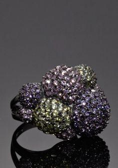 Sterling Silver/Purple Bubble Ring