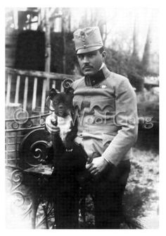 Historic photo notecard of a French bulldog with owner. 1900