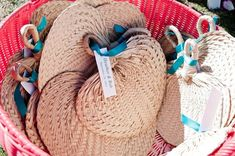 woven fans with tags that say couple's names and wedding date Wedding Program Sign, Unique Wedding Programs, Wedding Ceremony Programs, Wedding Signage, Wedding Venues, Wedding Ushers, Unplugged Wedding, Wedding In The Woods, Floral Invitation