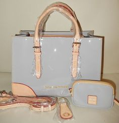 New Dooney & Bourke Patent Leather Satchel with Accessories Grey in Clothing, Shoes & Accessories, Women's Handbags & Bags, Handbags & Purses   eBay