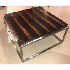 Mid Century Modern Style Rosewood & Chrome Low Table or Coffee Table