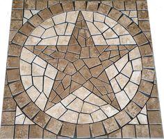 S Pacific Sand Texas Star Mosaic Medallion Backsplash Floor Tile Deco Design Inl