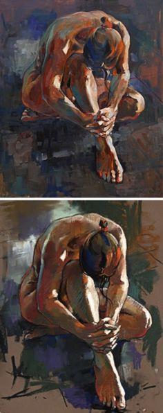 """Hands Clasped"" - Crawfurd Adamson, oil on canvas (top) vs pastel study (bottom); Edinburgh, UK {contemporary figurative art discreet female nude painting with preliminary drawing} Drawing Artist, Life Drawing, Edinburgh Uk, David Walker, Figure Studies, Figure Drawings, Pastel, Visual Diary, Figure Painting"