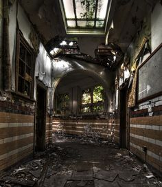 Denbigh Mental Asylum, Denbigh, North Wales, UK - was built in 1848 and could house over 1,500 patients and 1,000 staff. It closed in 1995 - corridor in administration building.