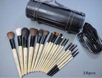 2014 El nuevo profesional 18pcs cepillo del maquillaje de la alta manera dulce Rosy Cepillos cosméticos Cilindro Copa Holder cómodo de usar