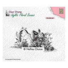 Tampon clear transparent scrapbooking Nellie Snellen JARRE FLEUR ROSE FEUILLAGE 034 Tampons Transparents, Simon Says Stamp, Clear Stamps, Scrapbooking, Choices, Scene, Vase, Floral, Relief