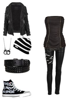 I love the outfit except I would like if the shirt had straps and was less crinkled in a fashionable way. It looks uncomfortable Scene Outfits, Punk Outfits, Fashion Outfits, Punk Fashion, Gothic Fashion, Womens Fashion, Girl Fashion, Mode Emo, Mode Rock