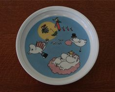 ARABIA Flying Moomins Dish Plate Tove Jansson Finland Cartoon Characters. $35.00, via Etsy.