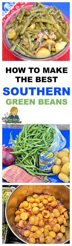How to make Southern Green Beans. recipe calls for bacon,fresh green beans and new potatoes. Bacon Recipes, Side Dish Recipes, Vegetable Recipes, Cooking Recipes, Beans Recipes, Recipes Dinner, Keto Recipes, Fast Recipes, Turkey Recipes
