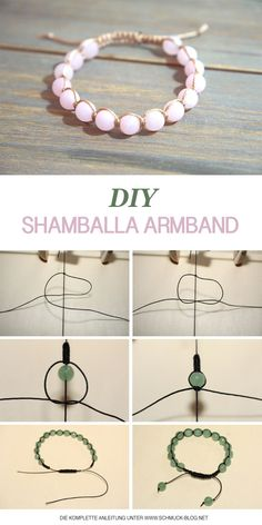Make Shamballa bracelets yourself - instructions- Shamballa Armbänder selber knüpfen – Anleitung Learn to make a bracelet ♥ ️ DIY jewelry - Diy Shamballa Armband, Shamballa Bracelet, Armband Diy, Macrame Bracelet Diy, Fishtail Bracelet, Macrame Bracelet Patterns, Knotted Bracelet, Crochet Beaded Bracelets, Beaded Anklets