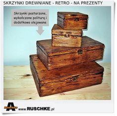 Drewniane skrzynki ręcznie stylizowane na stare