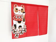 Japanese cat noren red cat curtain red noren by japanmomijidesigns