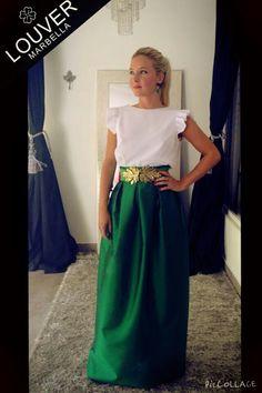 #Louvermarbella#faldalarga#tafetan#verde#blusa#blanco#cinturon#hojas#metal