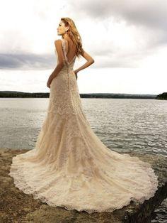 A-line Straps Rhinestone Sleeveless Court Trains Lace Wedding Dresses For Brides