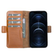 iPhone 13 Pro Flip Cover Leather Wallet Case with Kickstand Feature - SHIPS NOW! - Rustic Tan