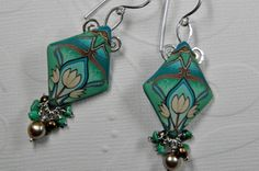 Art Nouveau Millefiori Polymer Clay and Gemstone Dangle Earrings by DedeLeupold