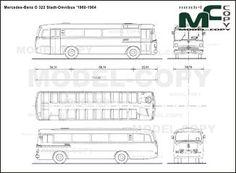 Mercedes-Benz O 322 Stadt-Omnibus '1960-1964 - blueprints (ai, cdr, cdw, dwg, dxf, eps, gif, jpg, pdf, pct, psd, svg, tif, bmp)