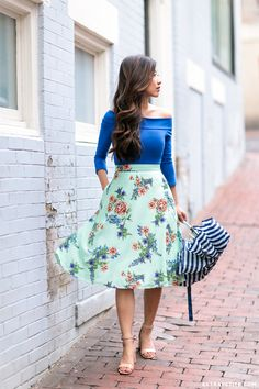 retro fashion // off shoulder top + midi floral fit & flare skirt from www.extrapetite.com