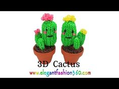 Watch and learn how to make a Rainbow Loom 3D Cactus charm.