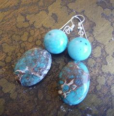 Feeling Blue Glass and Turquoise Beaded earrings by SatinDollCo