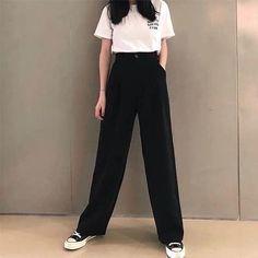 Korean Girl Fashion, Korean Street Fashion, Ulzzang Fashion, Korean Outfit Street Styles, Korean Outfits, Kpop Fashion Outfits, Mode Outfits, Wide Pants Outfit, Cute Casual Outfits