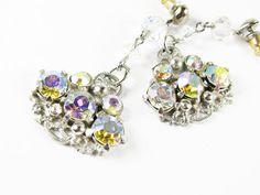 Vintage Aurora Borealis Rhinestone Earrings / AR by MyChouchou, $16.00