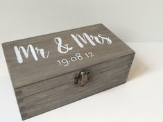 Personalised Mr & Mrs wooden box Wooden Wedding by MakeMemento