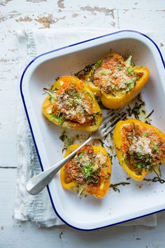 Spicy red lentil-stuffed peppers :: Sonja Dahlgren/Dagmar's Kitchen