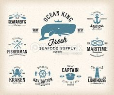 Vector Art : Vintage Nautical Labels or Design Elements With Retro Textures and