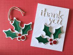 Merry Christmas and Thank You Lisa Addesa Simon Says Stamp Holly and Berries tag Christmas Thank You, Simple Christmas Cards, Merry Christmas Everyone, All Things Christmas, Christmas 2019, Thank You Gifts, Thank You Cards, Simon Says Stamp, Creative Cards