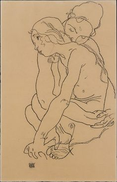 Two Women Embracing Egon Schiele (Austrian, Tulln 1890–1918 Vienna) Date: 1918 Medium: Charcoal on paper Dimensions: H. 18-1/4, W. 11-3/4 inches (46.4 x 29.8 cm.)