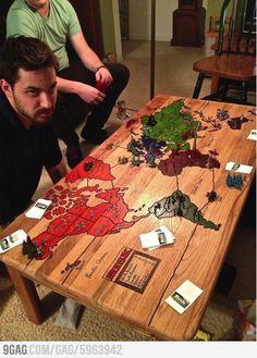 Risiko auf den Tisch gemalt