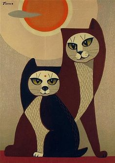 By Tomoo Inagaki (Japanese, 1902-1980), Two cats in front of sun, color woodblock.