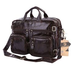 New 100% Genuine Leather Portfolio Men bag Vintage Oil Wax Men's Briefcase Shoulder Bussiness Bags for 15.6 Inch Laptop 4 Colors