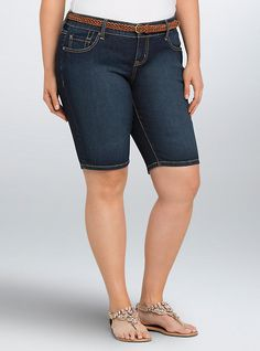 Torrid Bermuda Shorts - Dark Wash with Belt, SANDED RINSE
