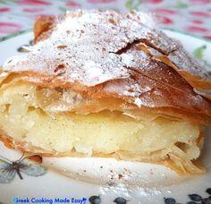 Greek Cooking Made Easy Greek Sweets, Greek Desserts, Greek Recipes, Greek Cake, Eat Greek, Yummy Snacks, Delicious Desserts, Yummy Food, Bougatsa Recipe