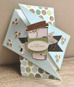 Une carte masculine et son tuto – Scrap with Steph Cool Paper Crafts, Diy And Crafts, Coffee Cards, Easel Cards, Masculine Cards, Scrapbook Albums, Folded Cards, Diy Cards, Cool Things To Make