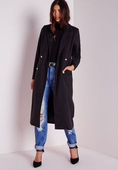 Missguided - Tailored Longline Military Coat Black