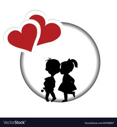 Round frame with silhouette of a boy and a girl vector image on VectorStock Couple Sketch, Cute Love Images, Valentine's Cards For Kids, Cartoons Love, Valentines Art, Round Frame, Love Wallpaper, Silhouette, Instagram